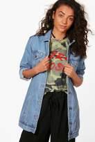 boohoo Tall Eleanor Longline Denim Jacket blue