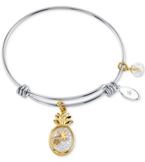 Unwritten Pineapple Crystal Shaky Charm Adjustable Bangle Bracelet in Silver-Tone & Gold-Tone