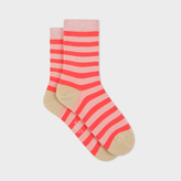 Paul Smith Women's Pink And Coral Stripe Socks