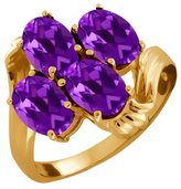 Gem Stone King 1.80 Ct Oval Amethyst 14K Yellow Gold Ring