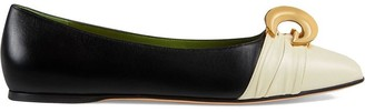Gucci Leather ballet flat with half moon GG