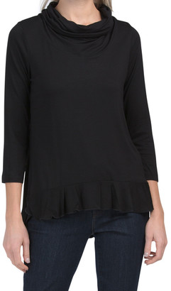 Scrunch Cowl Neck Top With Ruffle Bottom