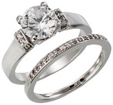 Silver Plated Round Cut Cubic Zirconia Wedding Ring Set - Size 7