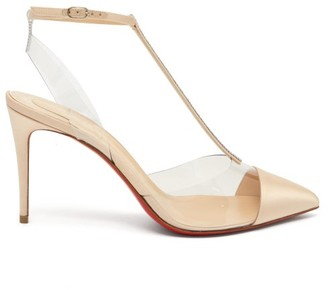 Christian Louboutin Nosy 85 Crystal-embellished Satin Pumps - Nude
