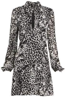 Saint Laurent Long-Sleeve Tieneck Leopard Dress