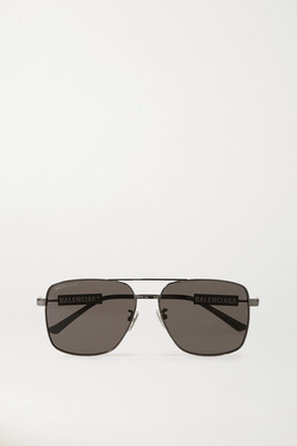 Balenciaga Aviator-style Gunmetal-tone And Rubber Sunglasses - Gray