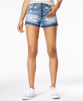Rampage Juniors' Button-Front Embroidered Denim Shorts
