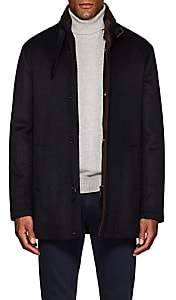 Barneys New York Men's Double-Collar Brushed Cashmere Coat - Navy