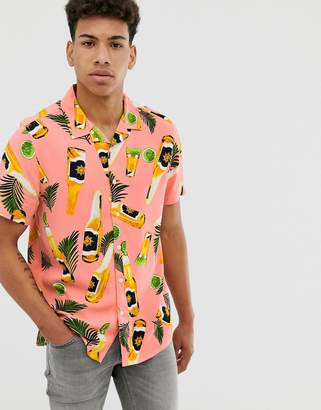 New Look shirt in pink bottle print