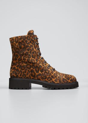 Giuseppe Zanotti Leopard-Print Suede Combat Booties