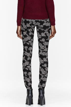 Marc by Marc Jacobs Black Tulip Printed Rae Rae Stick Jeans