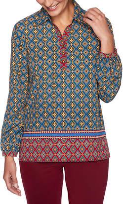 Ruby Rd. Women's Blouses SAPHRMU - Sapphire Geometric Button-Front Top - Women