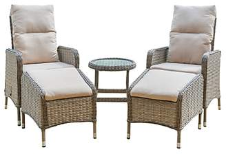 LG Electronics Outdoor Marseille 2 Seater Reclining Garden Chairs with Footstools and Side Table Set, Natural