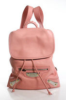 Balenciaga Pink Leather Silver Tone Medium Flap Backpack Handbag New