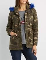 Charlotte Russe Faux Fur-Trim Camo Anorak Jacket