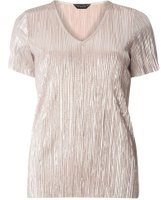 Dorothy Perkins Womens Champagne Plisse Top- White