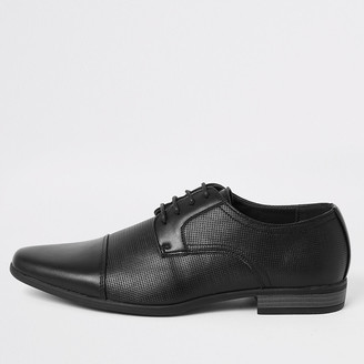 River Island Black embossed lace-up derby shoes