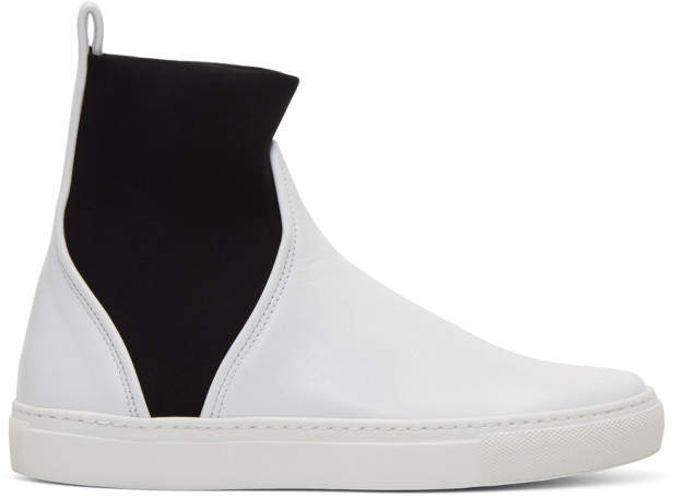 Cédric Charlier White Pull-On High-Top Sneakers
