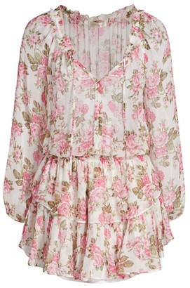 LoveShackFancy Floral Silk Popover Dress