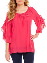 Multiples Ruffle Flounce Raglan Sleeve Solid Top