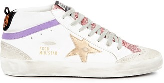 Golden Goose Mid Star white distressed leather sneakers