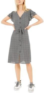Monteau Petite Printed Layered-Sleeve A-Line Dress