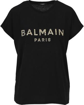 Balmain Crystal Embellished Logo T-shirt