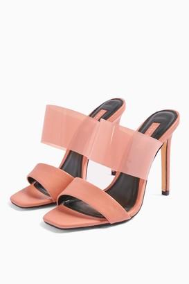 Topshop Womens Stella Blush Pink Transparent Mules - Blush