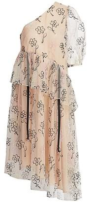 Sandy Liang Sunday Ruffled One-Shoulder Asymmetrical Dress