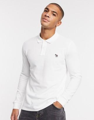 Paul Smith slim fit long sleeve zebra logo polo in white