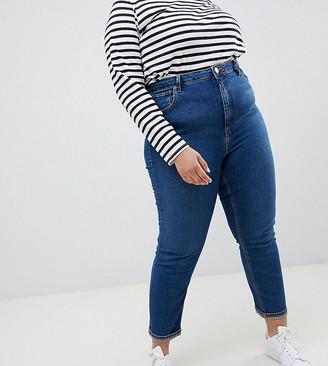 ASOS DESIGN Curve high rise farleigh 'slim' mom jeans in rich blue