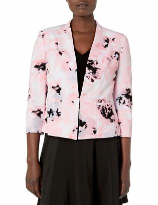 Kasper Women's 3/4 Sleeve Blurred Floral Printed Scuba Crepe Open Jacket