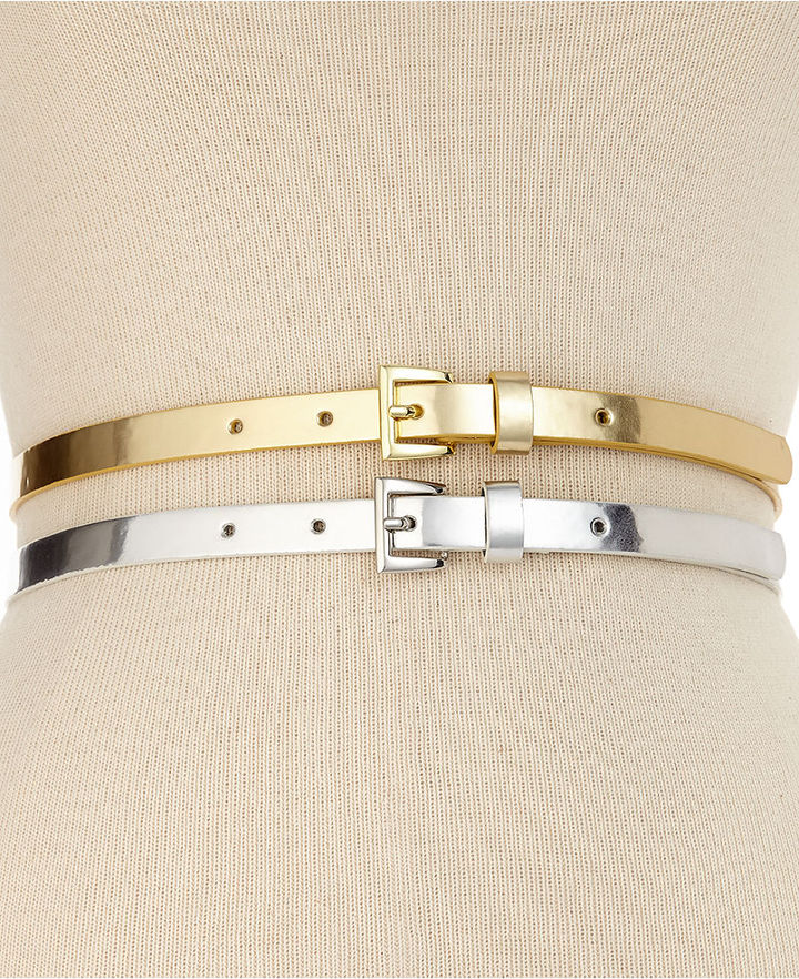 Style&Co. 2 for 1 Metallic Belts