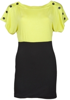 Buttoned Colorblock Dress