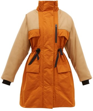 Roksanda Nomi Colour-blocked Taffeta And Wool-blend Coat - Womens - Orange Multi