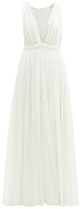 Maison Rabih Kayrouz Ruffled Empire-waist Silk-chiffon Gown - Cream
