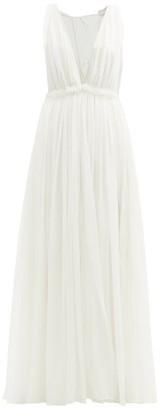Maison Rabih Kayrouz Ruffled Empire-waist Silk-chiffon Gown - Womens - Cream