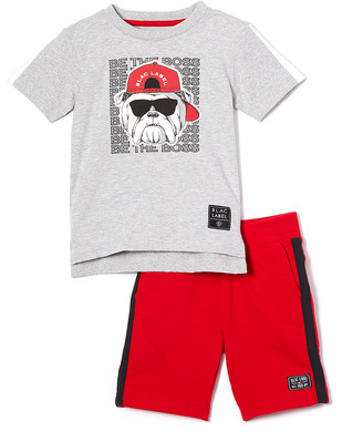 Blac Label Boys' Active Shorts GRAY - Gray Heather 'Be The Boss' Bulldog Tee & Red Side-Stripe Shorts - Toddler & Boys