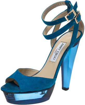 Jimmy Choo Blue Suede Ankle Strap Niagara Platform Sandals Size 38.5