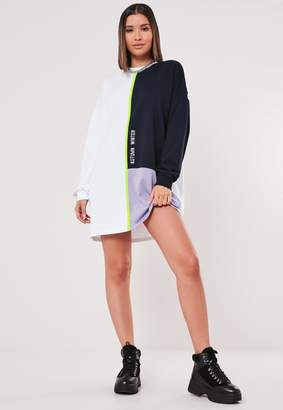 Missguided White Oversized Colourblock Sweatshirt Dress