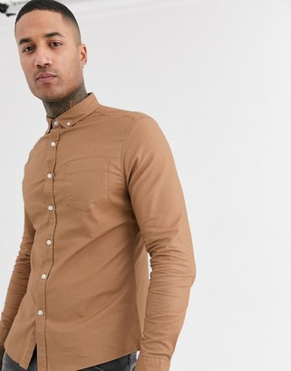 Asos Design DESIGN slim fit oxford shirt in dark tan-Brown