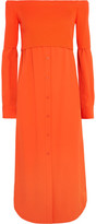 DKNY Off-the-shoulder Ribbed-knit And Twill Midi Dress - Orange