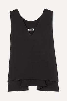 Jil Sander Asymmetric Crepe Top - Black