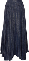 Alice + Olivia Katz Pleated Metallic Silk-Blend Jacquard Maxi Skirt