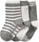 Joe Fresh Baby Boys' 3 Pack Assorted Crew Socks, Grey (Size 12-24)