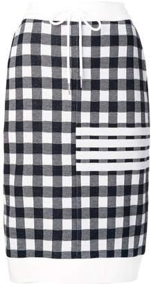 Thom Browne 4-Bar Gingham Check Sack Skirt