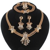Wang Fashion Gold/silver Plated Crystal Necklace Earring Wedding Party Jewelry Set (gold)