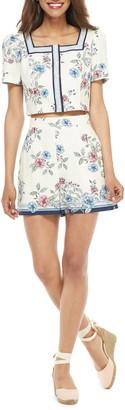Gal Meets Glam June Floral Print Two-Piece Linen Blend Romper