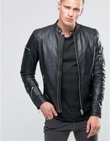 Diesel L-Sound Leather Biker Jacket Vintage Finish
