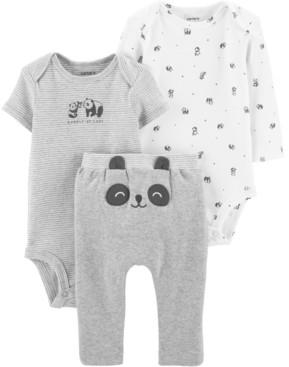 Carter's Baby Boys or Girls 3-Pc. Panda Cotton Bodysuits & Pants Set